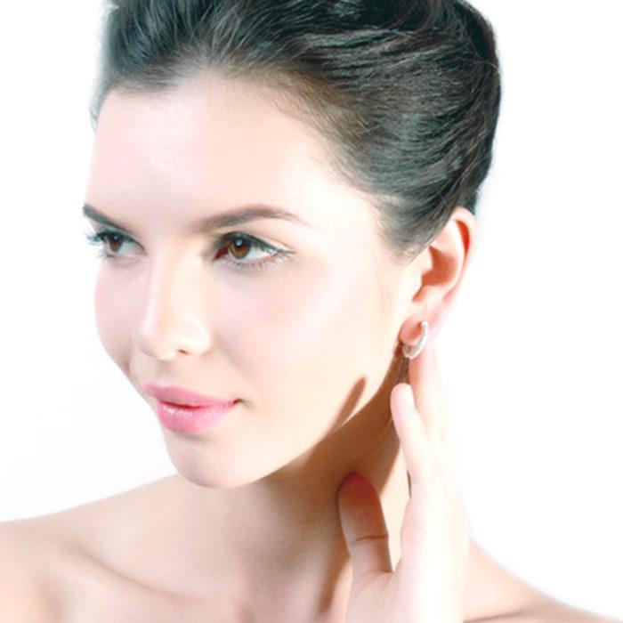 925 Sterling Silver Austrian Cubic Zirconia Hoop Earrings Womens