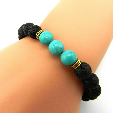 Turquoise Stone and Silver Bead Stretch Bracelet for Women MenTurquoise Stretch BraceletTurquoise BraceletTurquoise and Silver