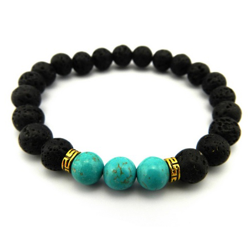 Mens Womens Affordable Volcanic Stone Beaded Turquoise Stretch Bracelet