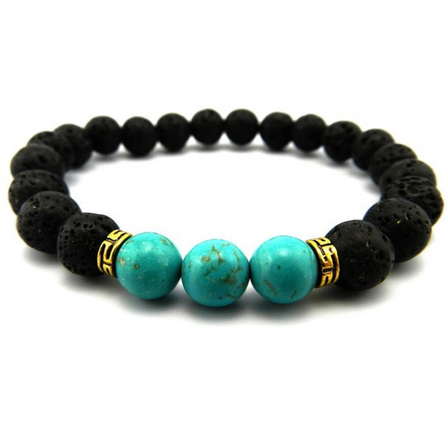 Volcanic Stone Beaded Turquoise Stretch Bracelet