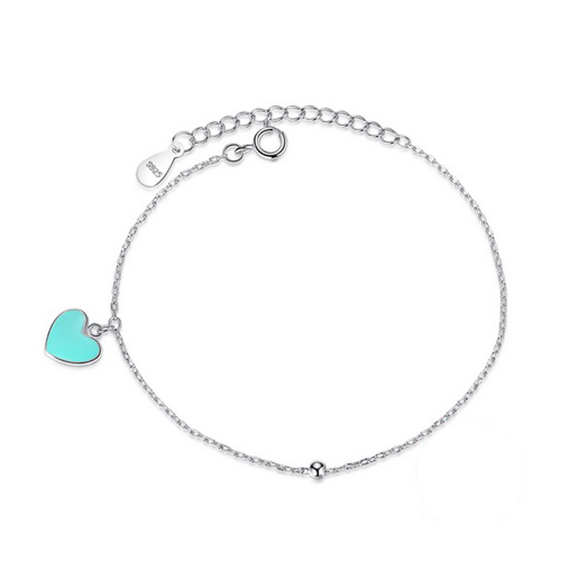 Aqua Heart Bracelet 925 Sterling Silver Enamel Charm