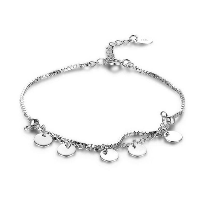 Circle Petals Charm Bracelet 925 Sterling Silver