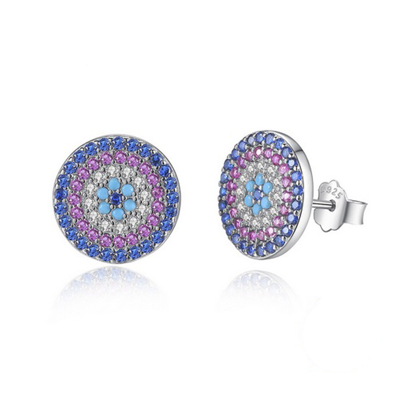 Circle Stud Earrings Multi-Color CZ Enamel S925