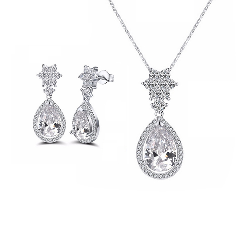 CZ Earrings Necklace Set 925 Sterling Silver