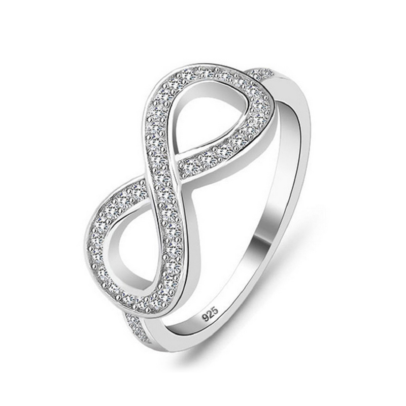 CZ Silver Infinity Ring S925 Wedding Jewelry