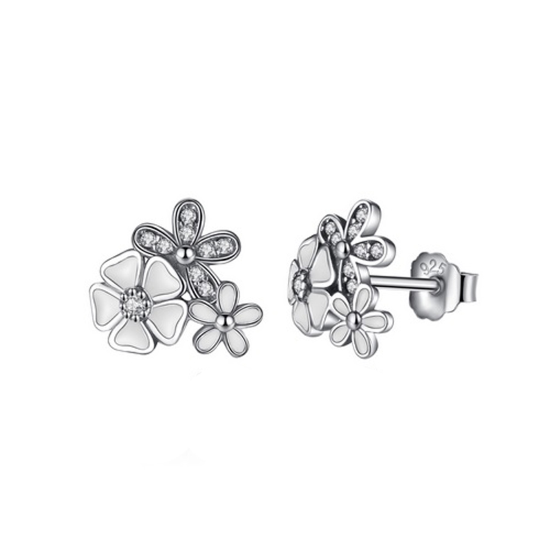 Daisies Stud Earrings 925 Sterling Silver Enamel CZ
