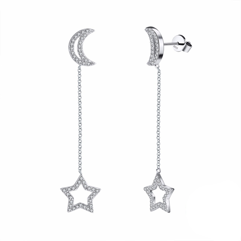 Dangle Wedding Earrings 925 Sterling Silver Cubic Zirconia