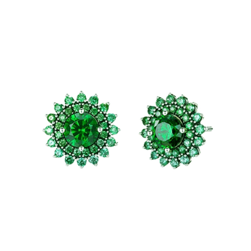 Green Sun Flower Stud Earrings