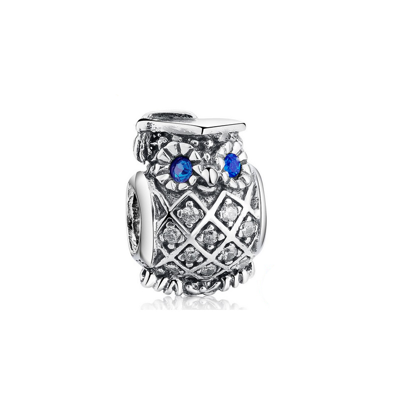 Owl Charm Bead Pendant CZ 925 Sterling Silver