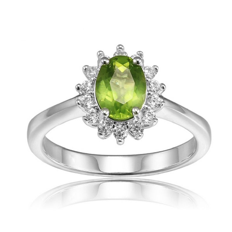 Peridot Ring CZ 925 Sterling Silver Flower Jewelry