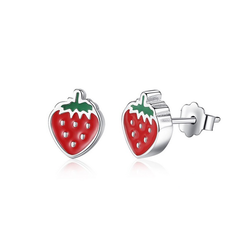 Strawberry Stud Earrings Enamel 925 Sterling Silver
