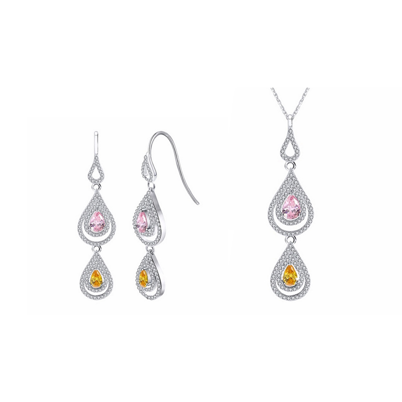 Water Drops Set Silver CZ Earrings Necklace Crystal