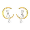 925 Sterling Silver Yellow Moon and Kitty Cat Gato Earrings