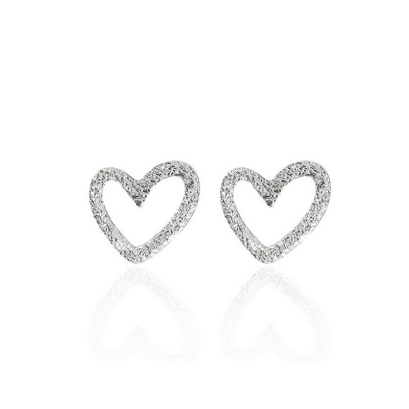 Heart CZ Stud Earrings 925 Sterling Silver