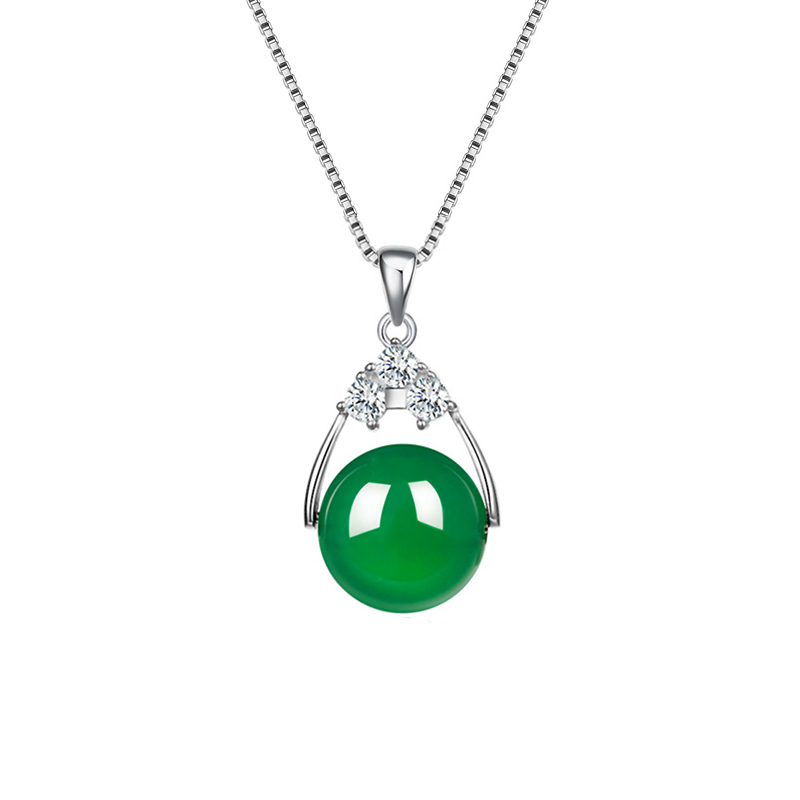Pendant Necklace Green Ball Chalcedony CZ S925