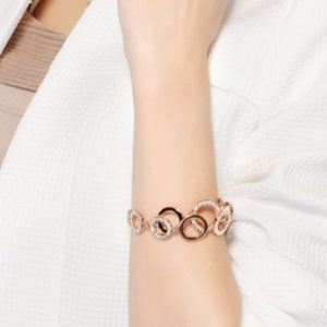 Cubic Zirconia Double Layer Circles Bracelet