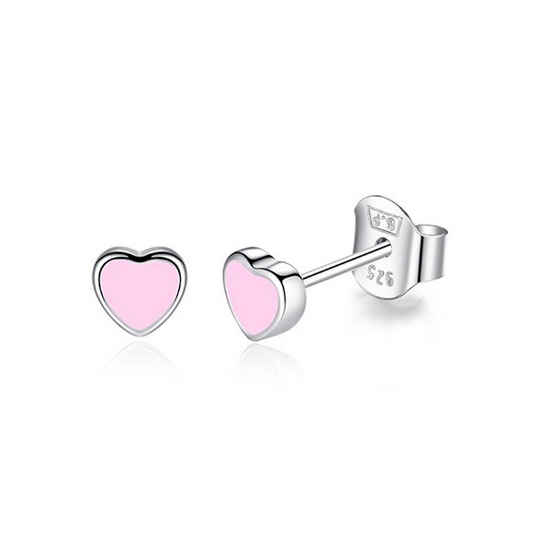 Cute Stud Earrings Enamel 925 Sterling Silver