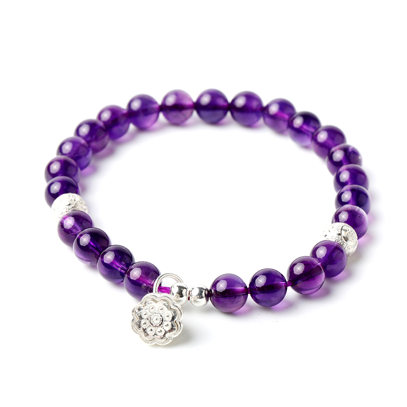 Amethyst Beaded Charm Bracelet S925 Lotus Stretch