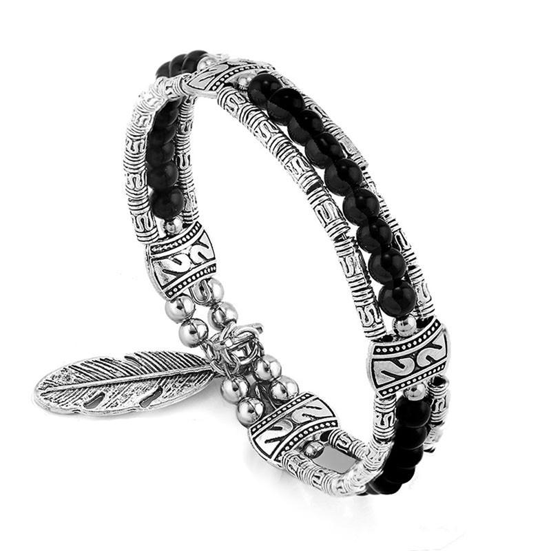 black-turquoise-beaded-gypsy-bracelet-feather-charm