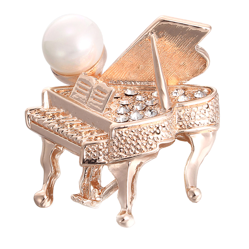 Grand Piano Pin Rhinestone Pearl Jewelry Accessory