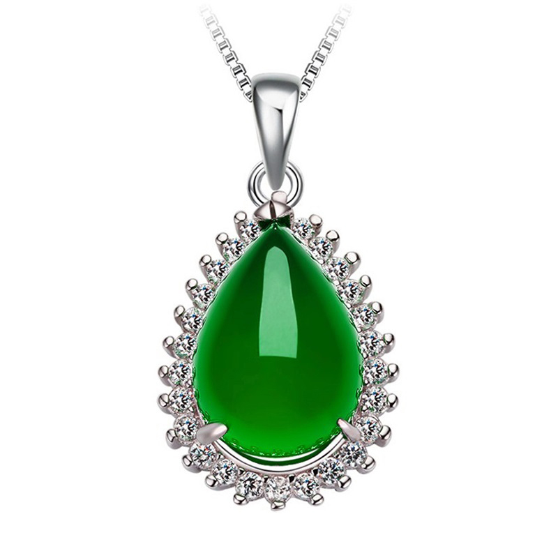 Chalcedony Pendant Necklace Water Drop S925