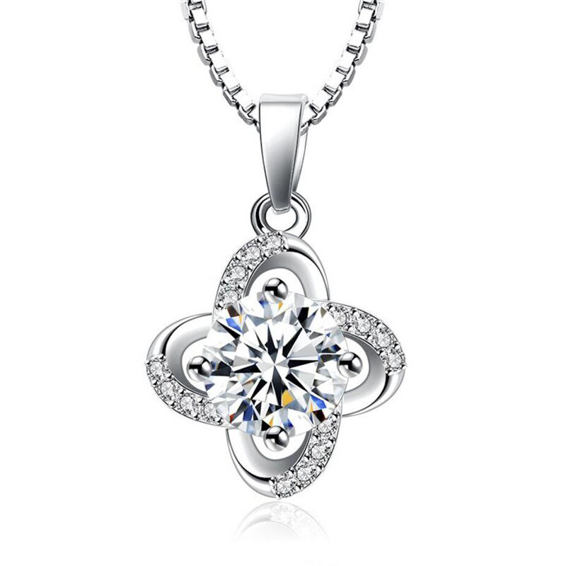 Clover Pendant Necklace Round Cut CZ S925