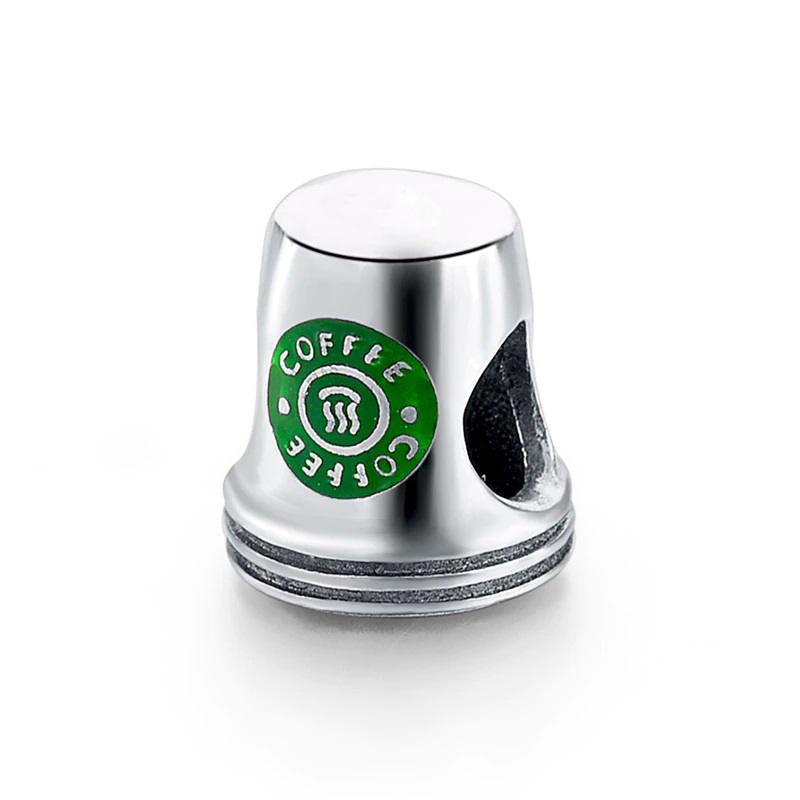 Coffee Cup Charm Enamel Bead 925 Sterling Silver