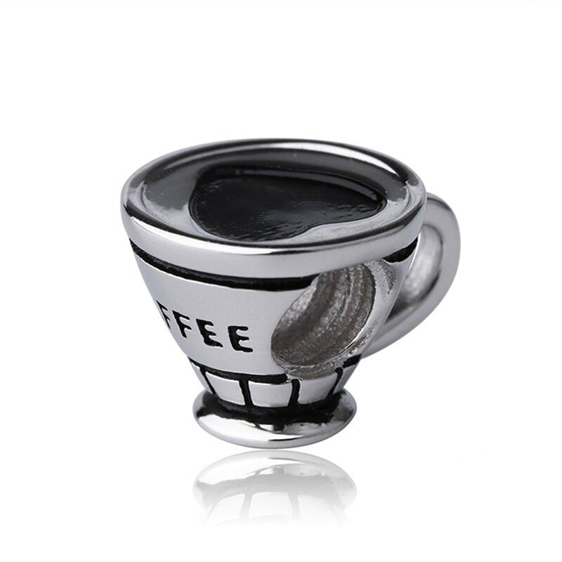 Coffee Cup Heart Charm Enamel S925 Bead