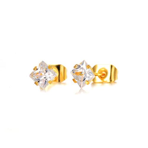 Cute Golden Stud Earrings Stainless Steel Princess Cut CZ