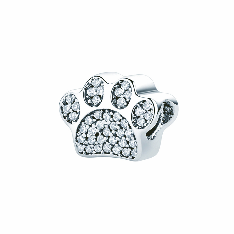 Dog Paw Charm Bead 925 Sterling Silver CZ