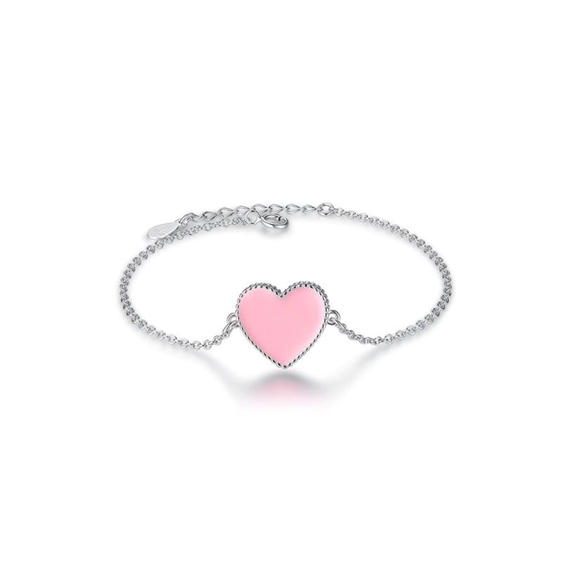Pink Heart Pendant Bracelet Enamel 925 Sterling Silver