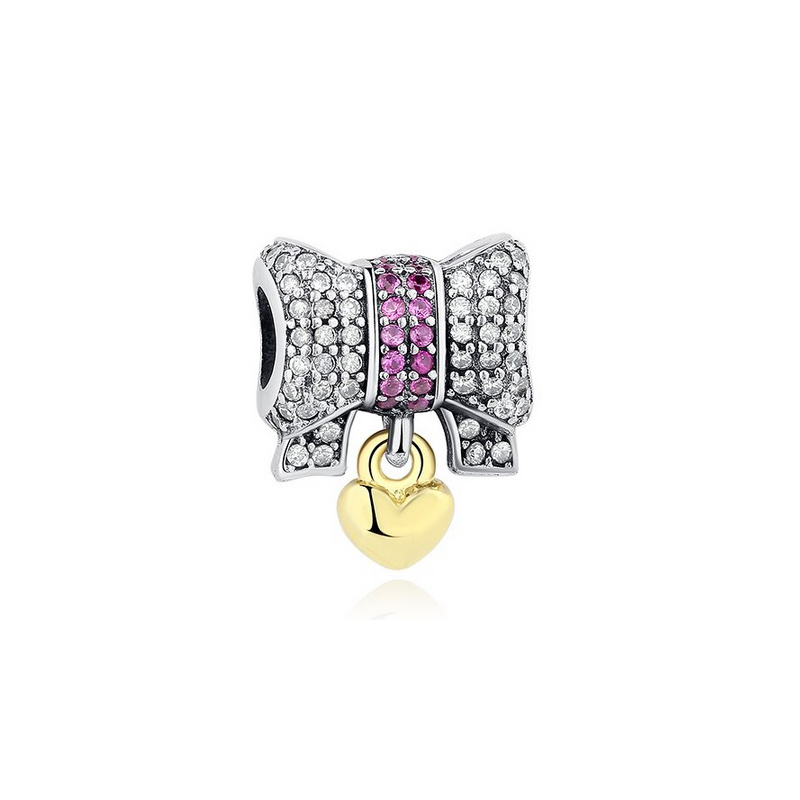 Heart Lock Charm Bead Saddle 925 Sterling Silver CZ