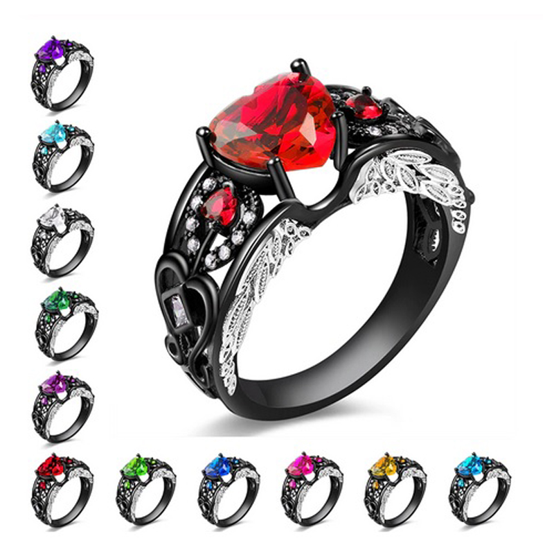 Heart Ring Black Gold Silver Plated Cubic Zirconia Jewelry