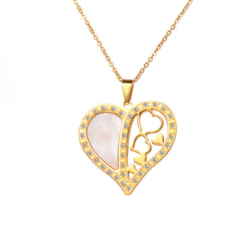 Heart Shell Pendant Necklace Stainless Steel CZ