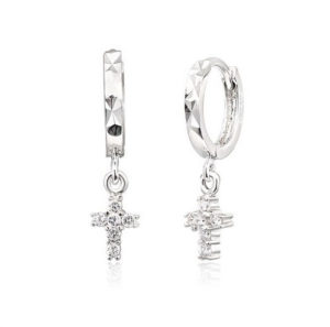 Hoop Dangle Cross Earrings 925 Sterling Silver CZ