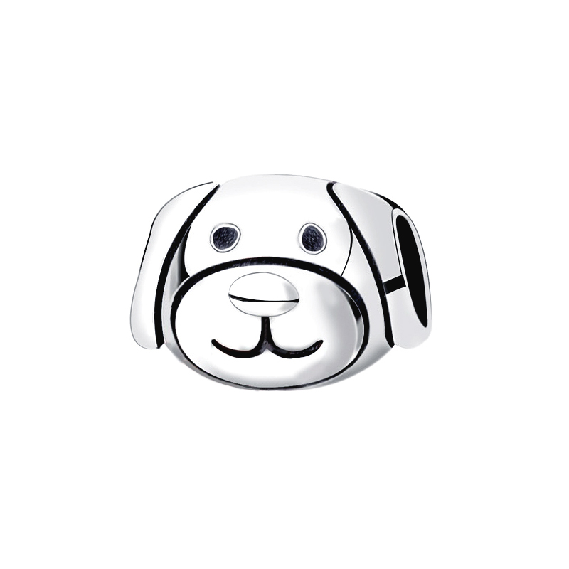 Puppy Dog Charm Bead 925 Sterling Silver