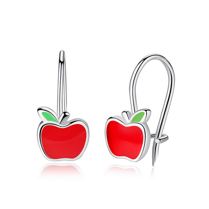 Red Apple Earrings Hoop 925 Sterling Silver Enamel
