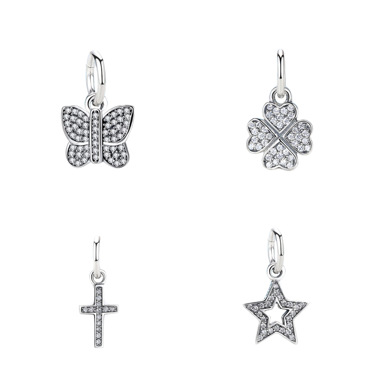 Silver Charms CZ Butterfly Clover Cross Star