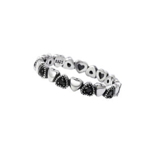 925 Sterling Silver Black Cubic Zirconia Forever Love Hearts Stackable Ring