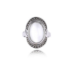 Rhodium Plated Opal Ring Vintage Style