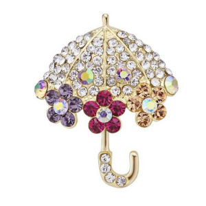 Flowery Umbrella Brooch Multi-Color Crystals Embedded