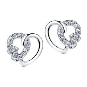 Romantic Heart Stud Earrings with Cubic Zirconia