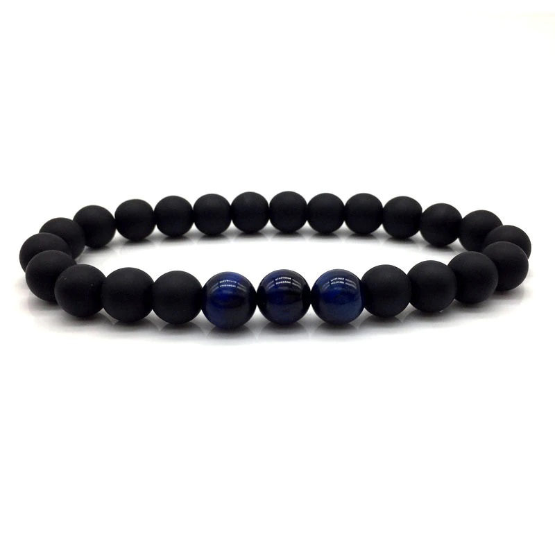 Blue Tiger Eye Bracelet Matte Black Onyx Beaded Stretch