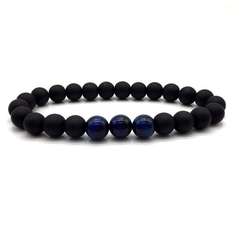 Blue Tiger Eye Bracelet Matte Black Onyx Beaded Stretch