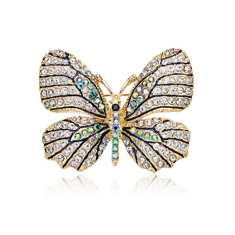 Butterfly Brooch Multi-Color Rhinestones