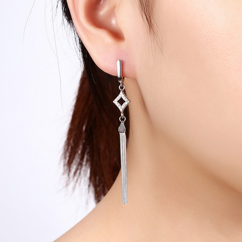 cubic zirconia 925 sterling silver bohemian tassel dangle earrings womens