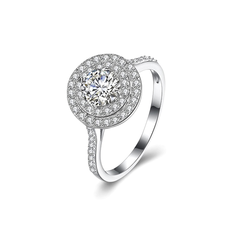 Halo Ring 925 Sterling Silver Cubic Zirconia
