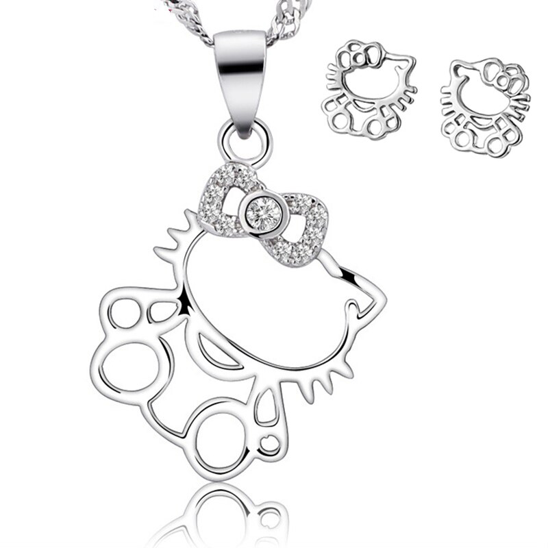 Hello Kitty Set CZ 925 Sterling Silver Earrings Necklace