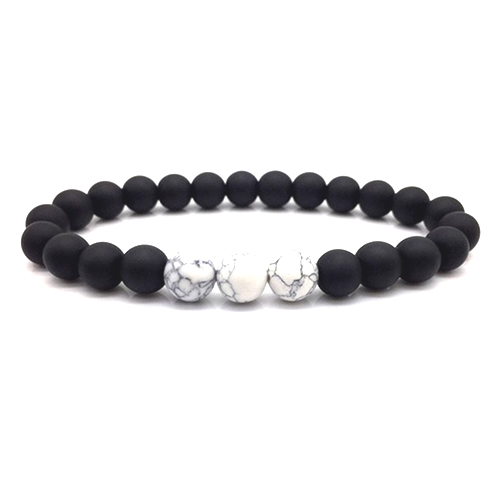 Matte Black White Onyx Bracelet Stretch Beaded