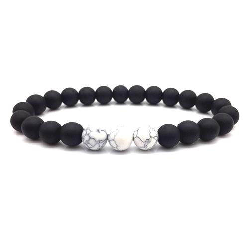 Matte Black White Onyx Bracelet Stretch Beaded